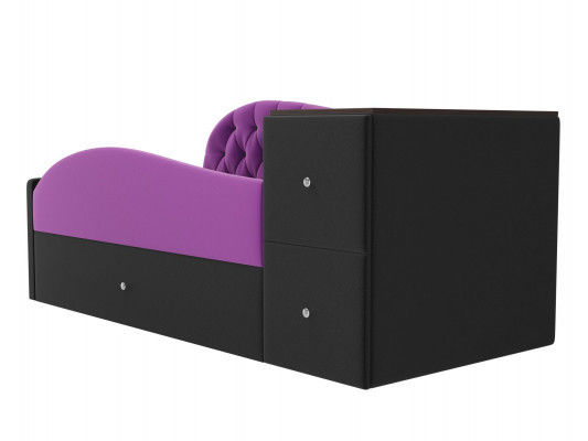 Диван ЛигаДиванов Джуниор правый 102200 микровельвет фиолетовый/черный - фото 2