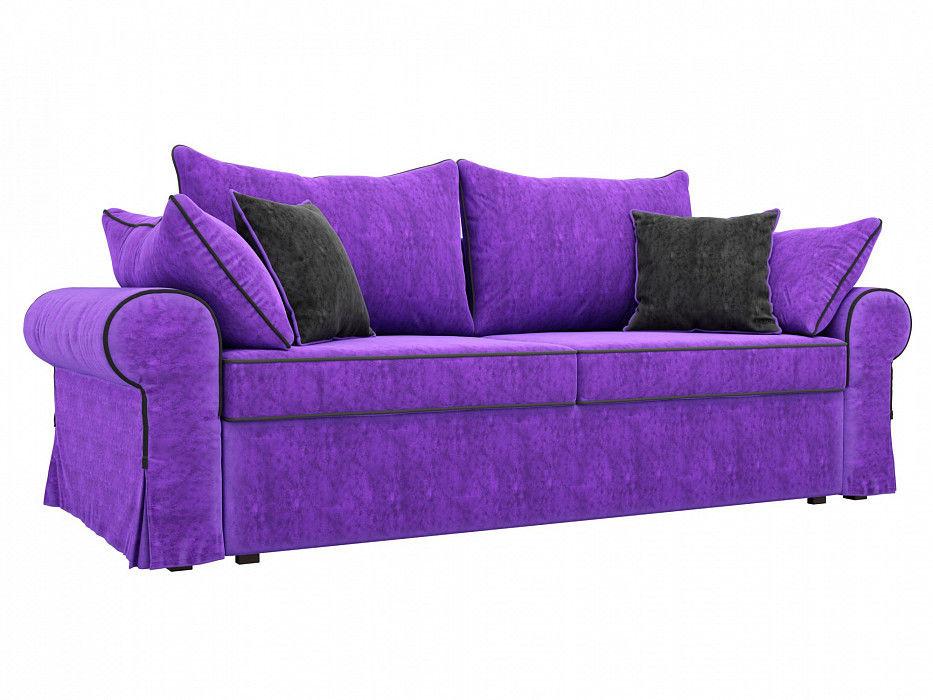 Диван Mebelico Элис прямой Велюр фиолетовый\черный - фото 1