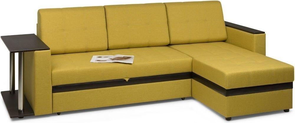 Диван Woodcraft Угловой Атланта Textile Yellow - фото 2