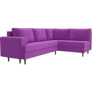 Диван ЛигаДиванов Сильвана угол правый микровельвет фиолетовый - фото 2