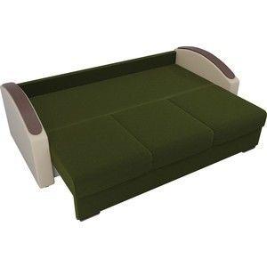 Диван ЛигаДиванов Монако slide микровельвет зеленый подлокотники экокожа коричневые подушки микровельвет бежевый - фото 4
