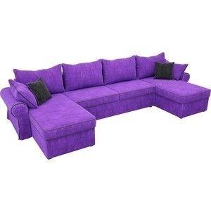 Диван ЛигаДиванов Элис П 124 60665 велюр фиолетовый черные подушки - фото 2