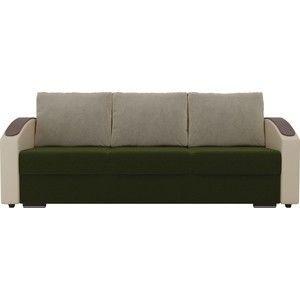Диван ЛигаДиванов Монако slide микровельвет зеленый подлокотники экокожа коричневые подушки микровельвет бежевый - фото 2