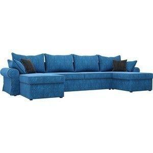 Диван ЛигаДиванов Элис П 124 60663 велюр голубой черные подушки - фото 1