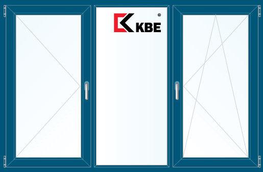 Окно ПВХ KBE 2060*1420 2К-СП, 5К-П, П+Г+П/О ламинированное (темно-синий) - фото 1