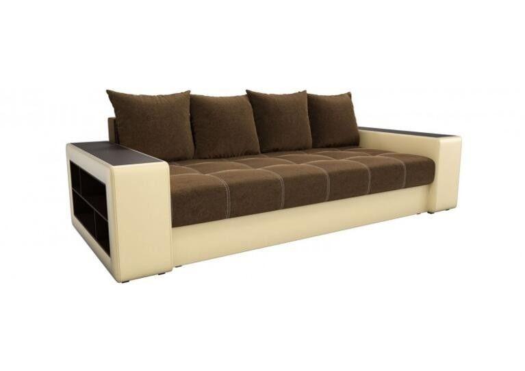 Диван Craftmebel прямой Дубай коричневый вельвет/бежевая экокожа - фото 1