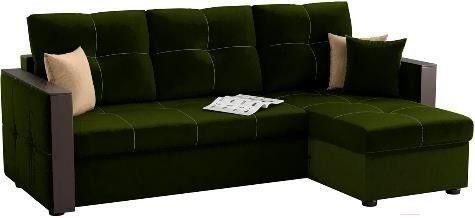 Диван Mebelico Валенсия 147 правый 59278 вельвет зеленый - фото 1
