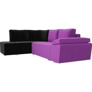 Диван ЛигаДиванов Хавьер левый угол микровельвет фиолетовый/черный - фото 3