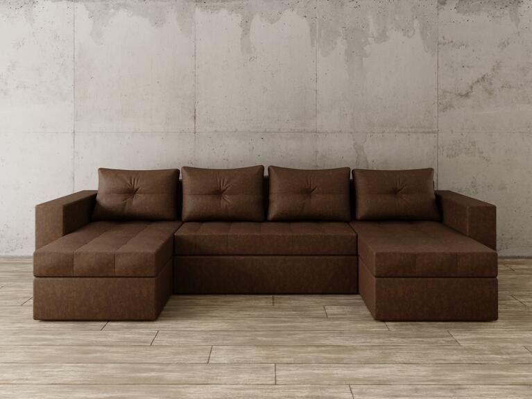 Диван Craftmebel Константин П-образный коричневая рогожка - фото 1