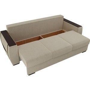 Диван ЛигаДиванов Брион микровельвет бежеый, подушки коричневые - фото 3
