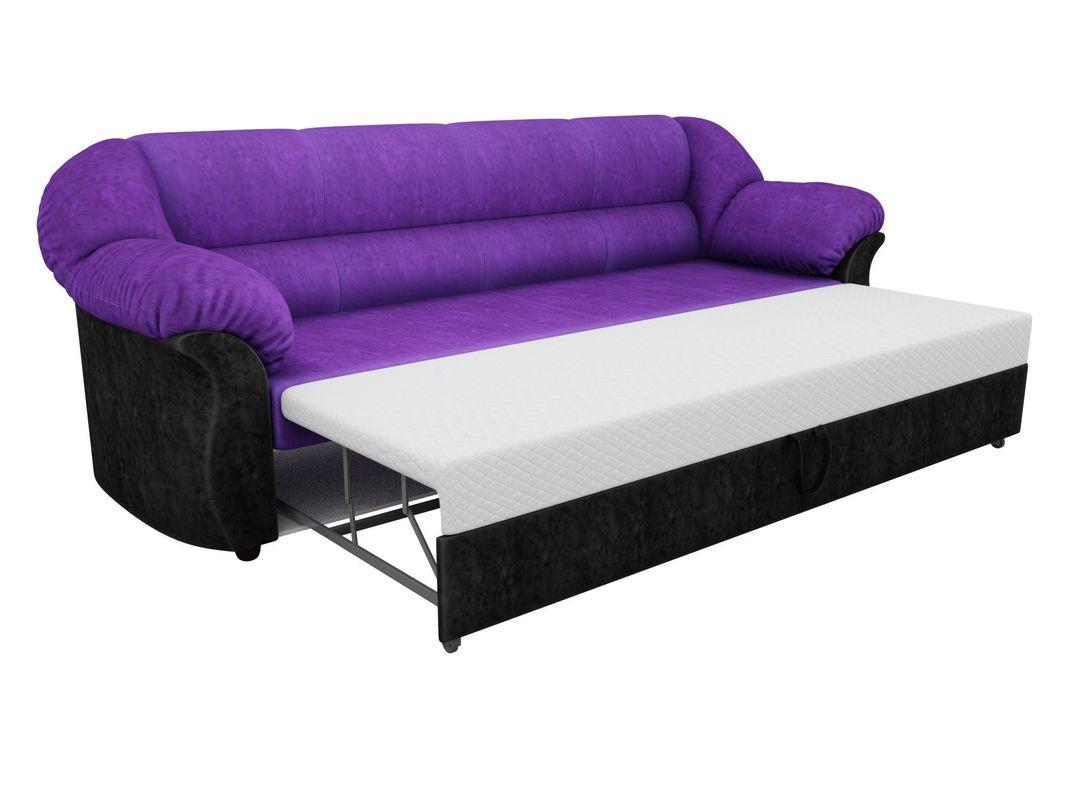 Диван ЛигаДиванов Карнелла 114 60401 велюр фиолетовый/экокожа черный - фото 4