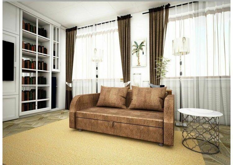 Диван Раевская мебельная фабрика Малыш с подлокотниками Флок коричневый 00605 - фото 1