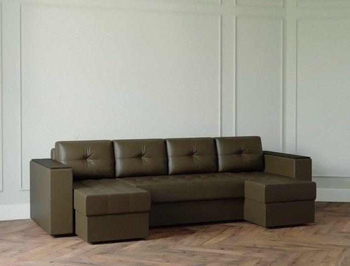 Диван Настоящая мебель Ванкувер Лайт с декором (модель: 4444) коричневый - фото 1