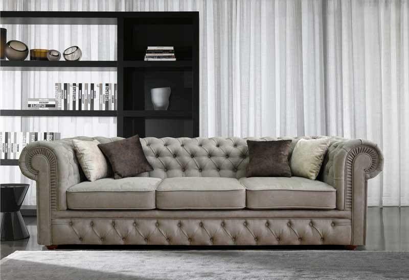Диван Tiolly Честерфилд 3 250 см (серый) - фото 1