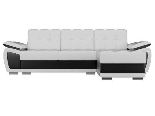 Диван ЛигаДиванов Нэстор угловой правый 100429 экокожа белый/черный - фото 4