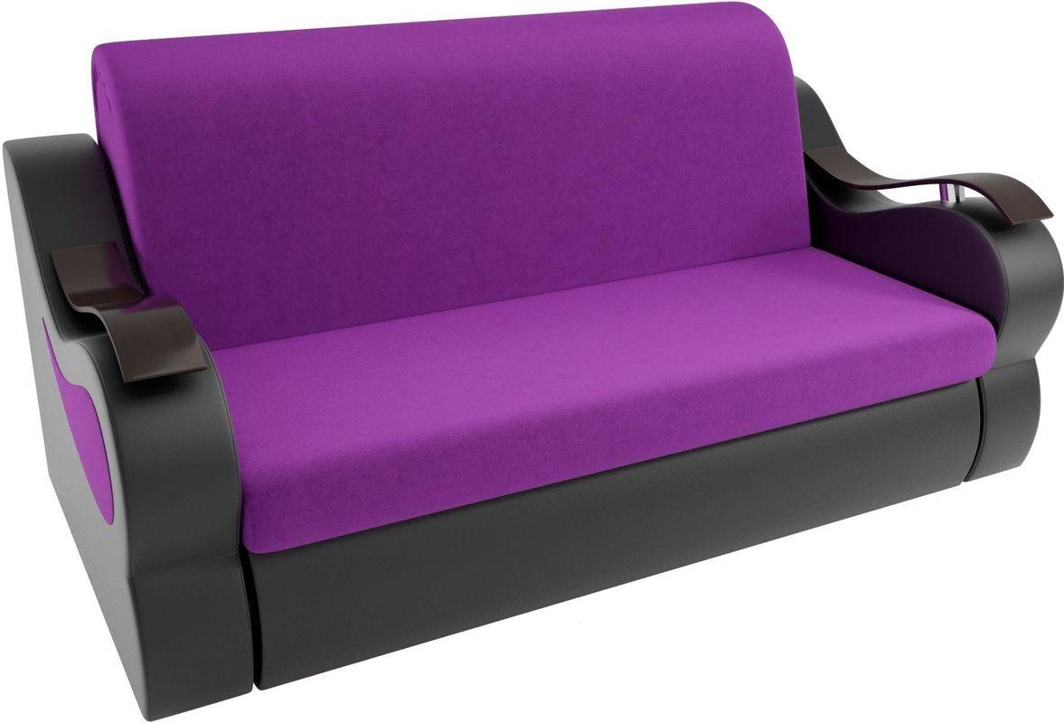 Диван Mebelico Меркурий 222 140, вельвет фиолетовый/экокожа черный - фото 2