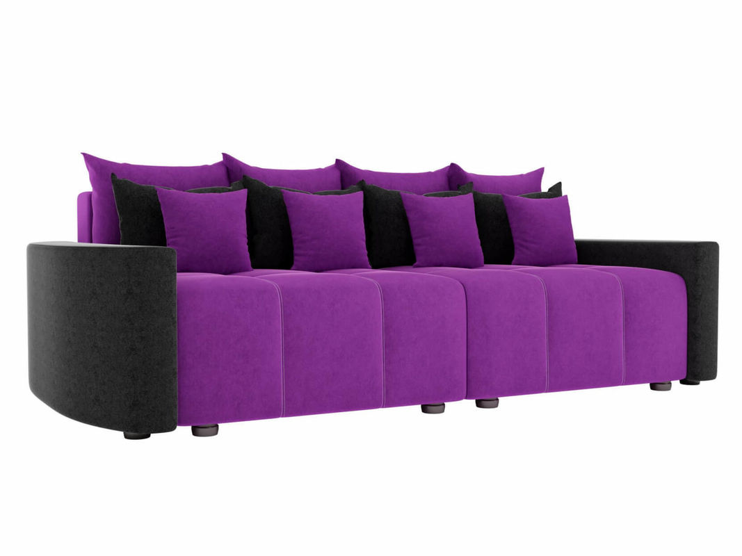 Диван ЛигаДиванов Бристоль вельвет фиолетовый/черный - фото 1