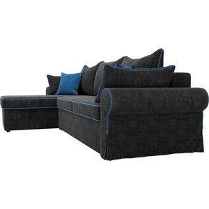 Диван ЛигаДиванов Элис 123 угловой левый 60654 велюр черный, голубые подушки - фото 5
