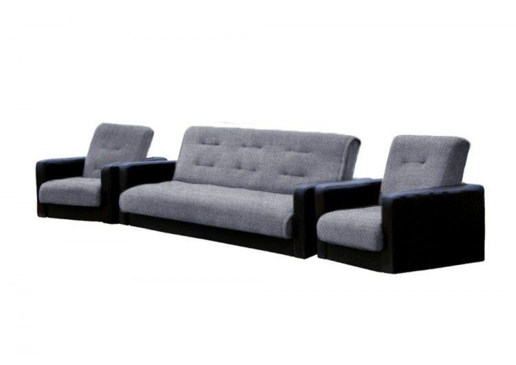Набор мягкой мебели Луховицкая мебельная фабрика Лондон серая рогожка комби 120х190 (диван + 2 кресла) - фото 2