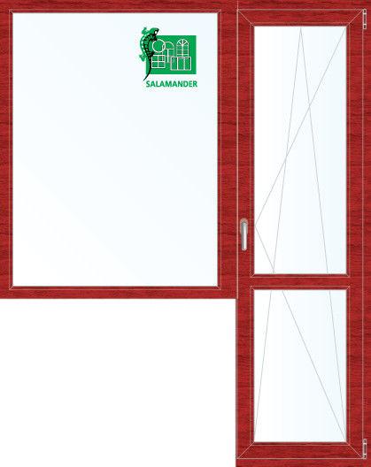 Окно ПВХ Salamander 1860*2160 2К-СП, 5К-П, Г+П/О ламинированное (вишня) - фото 1