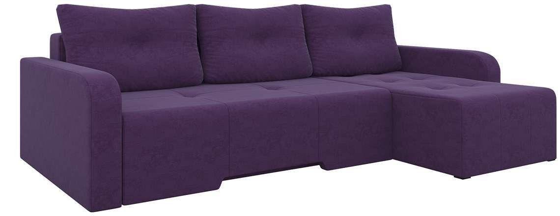 Диван Mebelico Манхеттен 86 правый 58649 микровельвет фиолетовый - фото 2