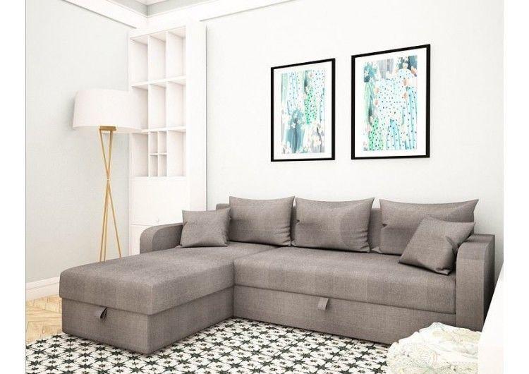 Диван Раевская мебельная фабрика Угловой в ткани Флок серый 00401 - фото 1
