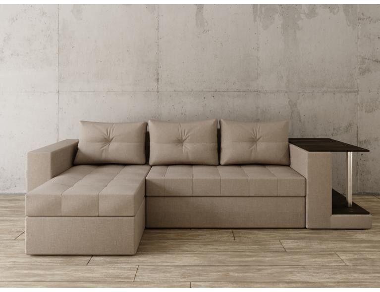 Диван Craftmebel Угловой Константин со столом серо-коричневая рогожка - фото 1