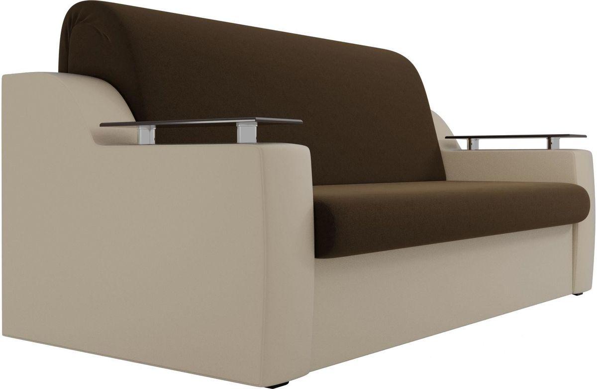 Диван Mebelico Сенатор 100713 140, микровельвет коричневый/экокожа бежевый - фото 4
