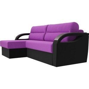 Диван ЛигаДиванов Форсайт левый микровельвет фиолетовый/черный - фото 1