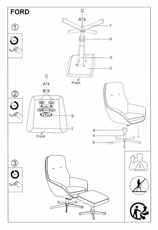 Кресло Signal FORD VELVET BLUVEL 14, кресло+подставка для ног (серый) FORDVSZ - фото 2
