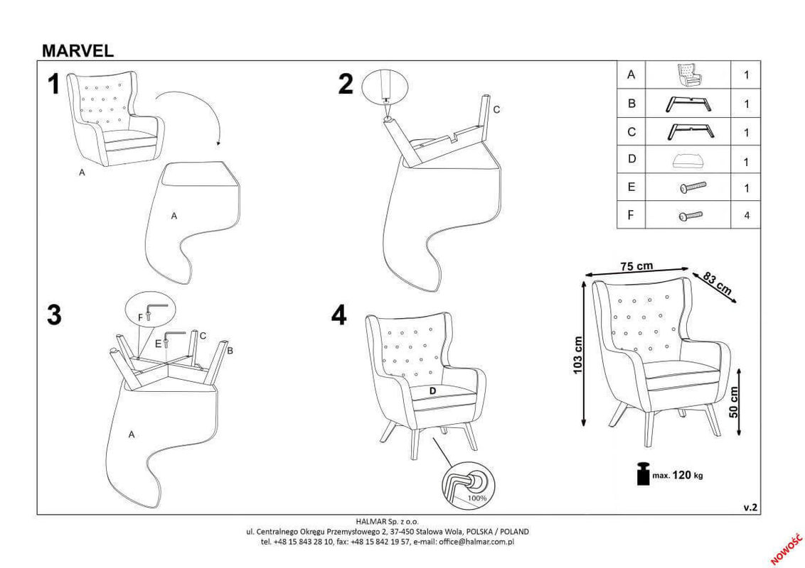 Кресло Halmar MARVEL (серый/черный) V-CH-MARVEL-FOT-POPIEL - фото 2