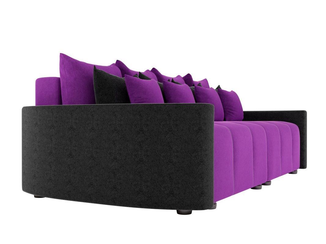 Диван ЛигаДиванов Бристоль вельвет фиолетовый/черный - фото 4