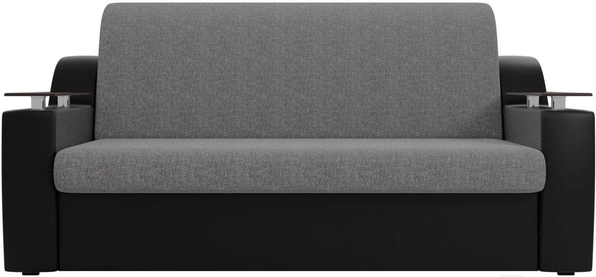 Диван Mebelico Сенатор 100722 120, рогожка серый/экокожа черный - фото 1