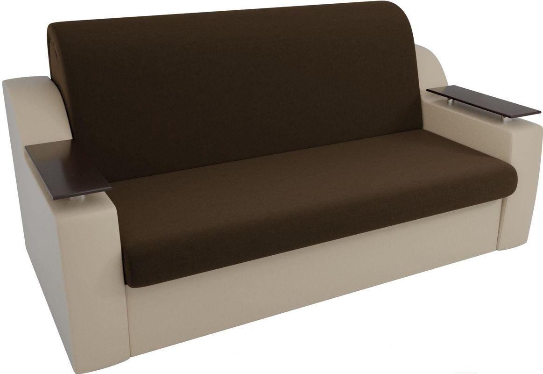 Диван Mebelico Сенатор 100713 140, микровельвет коричневый/экокожа бежевый - фото 2