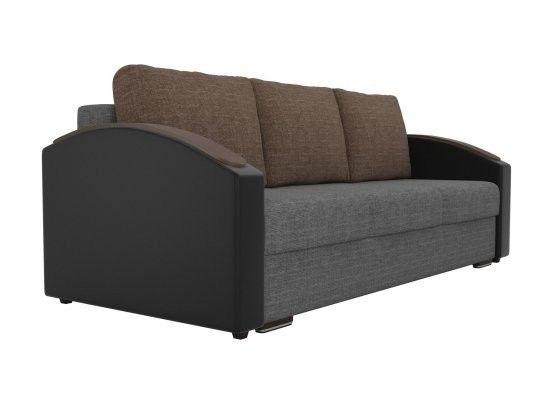 Диван ЛигаДиванов Монако Slide 102014 рогожка серый/экокожа черный/рогожка коричневый - фото 4