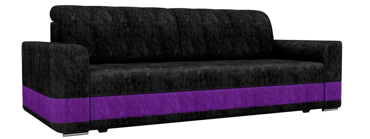 Диван ЛигаДиванов Честер велюр черный вставка фиолетовая - фото 1
