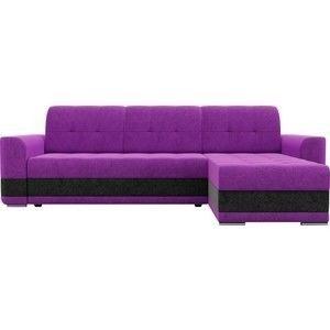 Диван ЛигаДиванов Честер угол правый вельвет фиолетовый вставка черная - фото 3