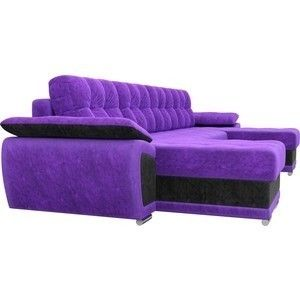 Диван ЛигаДиванов Нэстор п-образный велюр фиолетовый вставка черная - фото 5