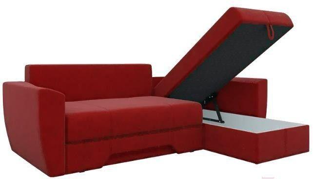 Диван Mebelico Амстердам 77 угловой правый 58495 микровельвет красный - фото 3