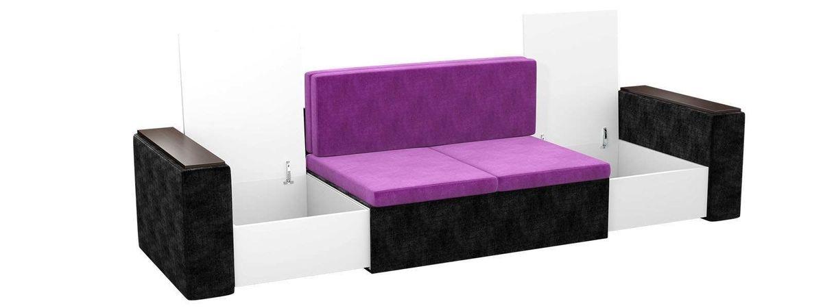 Диван Mebelico Арси 2 микровельвет фиолетовый/черный - фото 2