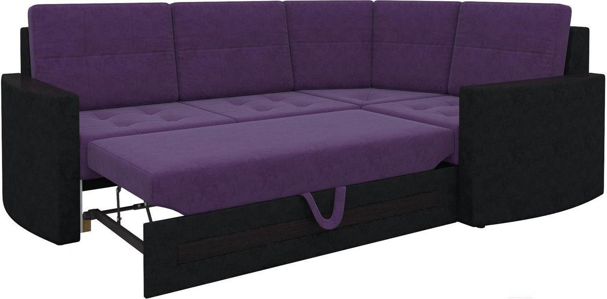 Диван Mebelico Белла У 476 правый вельвет черный/фиолетовый - фото 8