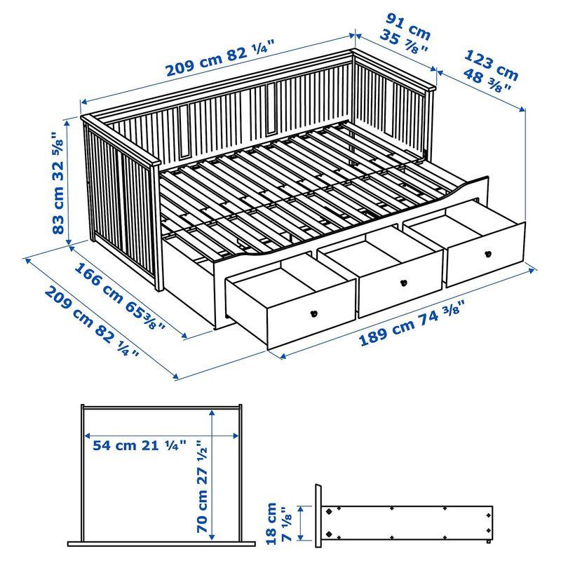 Диван IKEA Хемнэс с 2 матрасами/3-мя ящиками черно-коричневый [192.989.77] - фото 11