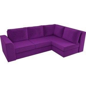 Диван ЛигаДиванов Пауэр угол правый вельвет фиолетовый - фото 4