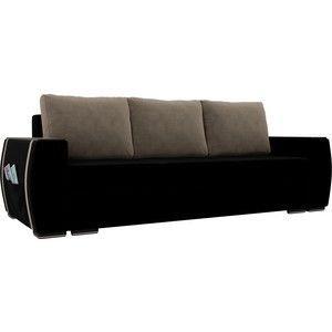 Диван ЛигаДиванов Брион велюр черный, подушки бежевые - фото 1