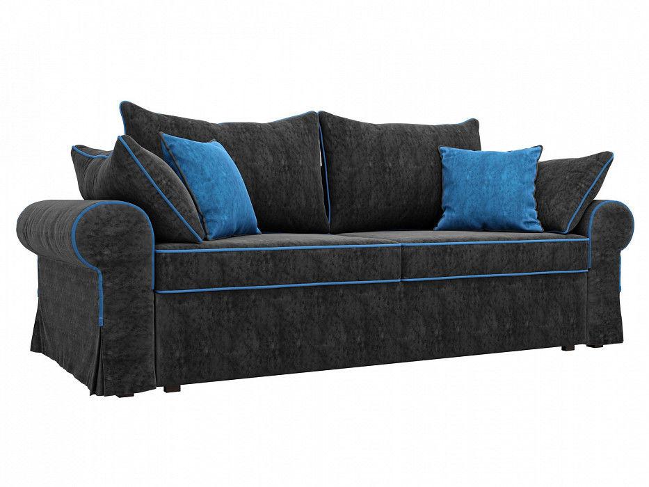 Диван Mebelico прямой Элис Велюр черный\голубой - фото 1