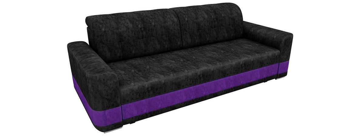 Диван ЛигаДиванов Честер велюр черный вставка фиолетовая - фото 3