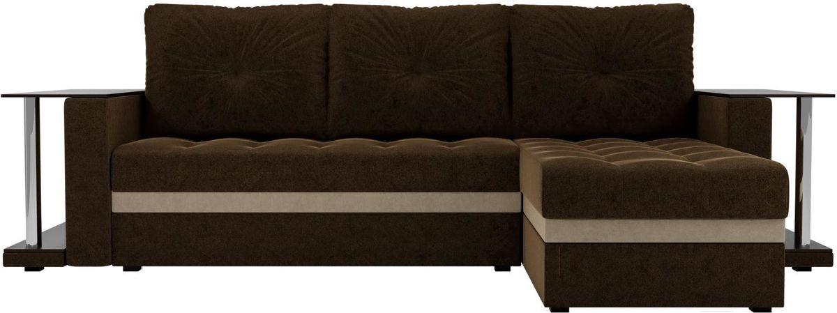 Диван Mebelico Атланта М правый 2 стола вельвет коричневый - фото 1
