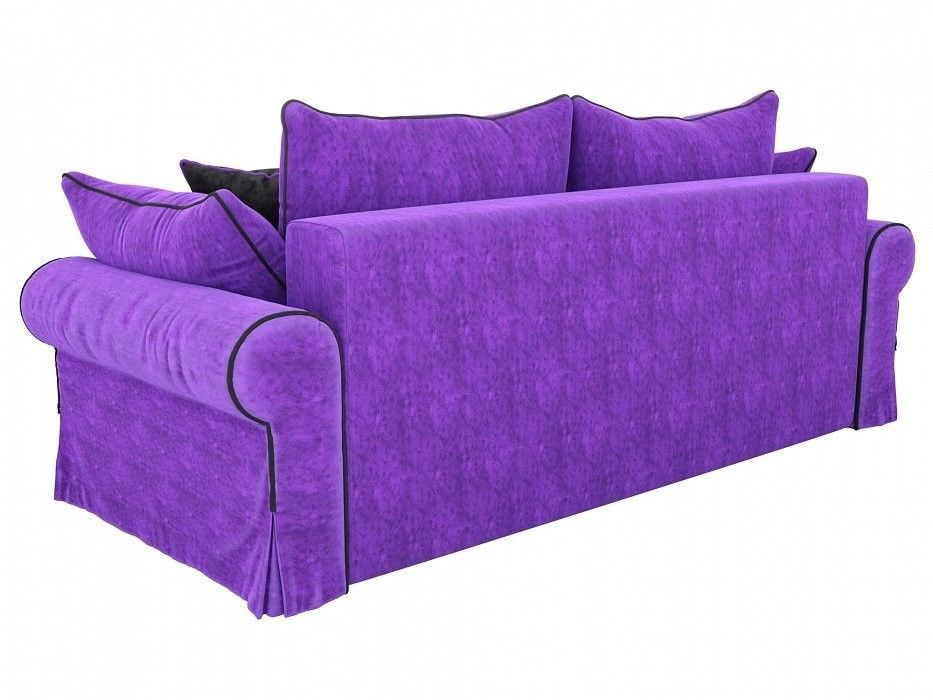 Диван Mebelico Элис прямой Велюр фиолетовый\черный - фото 3