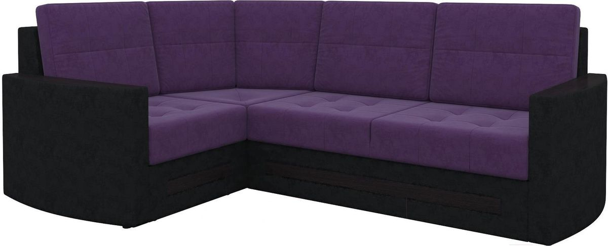 Диван Mebelico Белла У 476 угловой левый вельвет черный/фиолетовый - фото 5