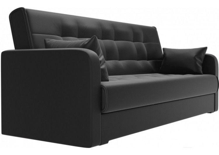 Диван Луховицкая мебельная фабрика Надежда (экокожа черная) пружинный 120x180 - фото 2